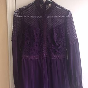 Purple chiffon & lace dress